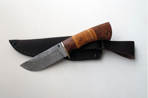 """Нож из дамасской стали """"Бобр"""" (малый) - работа мастерской кузнеца Марушина А.И."""