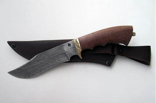 """Нож из дамасской стали """"Леший"""" - работа мастерской кузнеца Марушина А.И."""