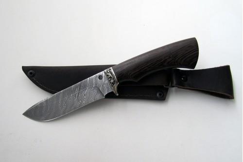 """Нож из дамасской стали """"Лось"""" (малый) - работа мастерской кузнеца Марушина А.И."""