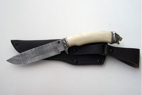 """Нож из дамасской стали """"Морж"""" (малый) - работа мастерской кузнеца Марушина А.И."""