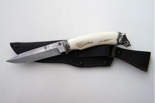 """Нож из дамасской стали """"Универсал"""" (малый) - работа мастерской кузнеца Марушина А.И."""