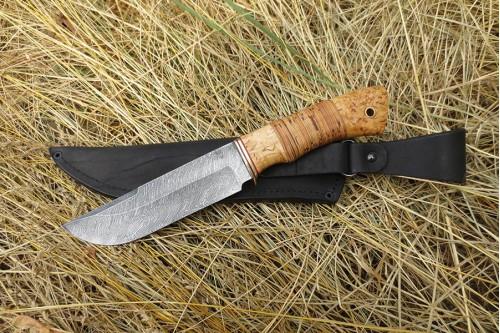 """Нож из дамаска """"Охотник"""" - работа мастерской кузнеца Марушина А.И."""