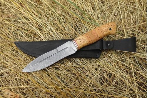 """Нож из дамасской ст. """"Сыч"""" - работа мастерской кузнеца Марушина А.И."""