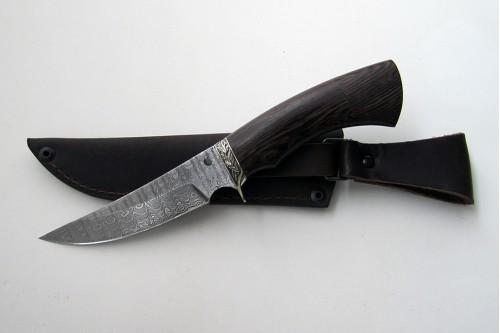 """Нож из дамасской стали """"Акула"""" (малый) - работа мастерской кузнеца Марушина А.И."""