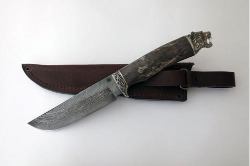 """Нож """"Таёжный"""" малый (торцевой дамаск с никелем) - работа мастерской кузнеца Марушина А.И."""